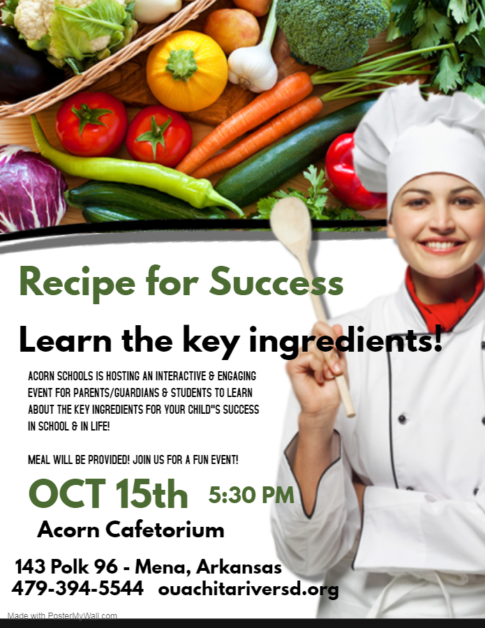 Acorn Schools Hosting RECIPE FOR SUCCESS event!