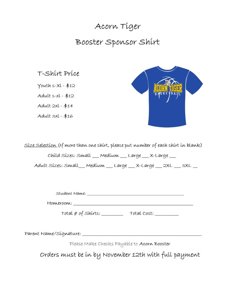 Acorn Tiger Sponsor Shirt/Please come by the office if you would like to order!!!!