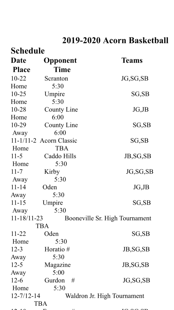 2019-2020 Basketball Schedule