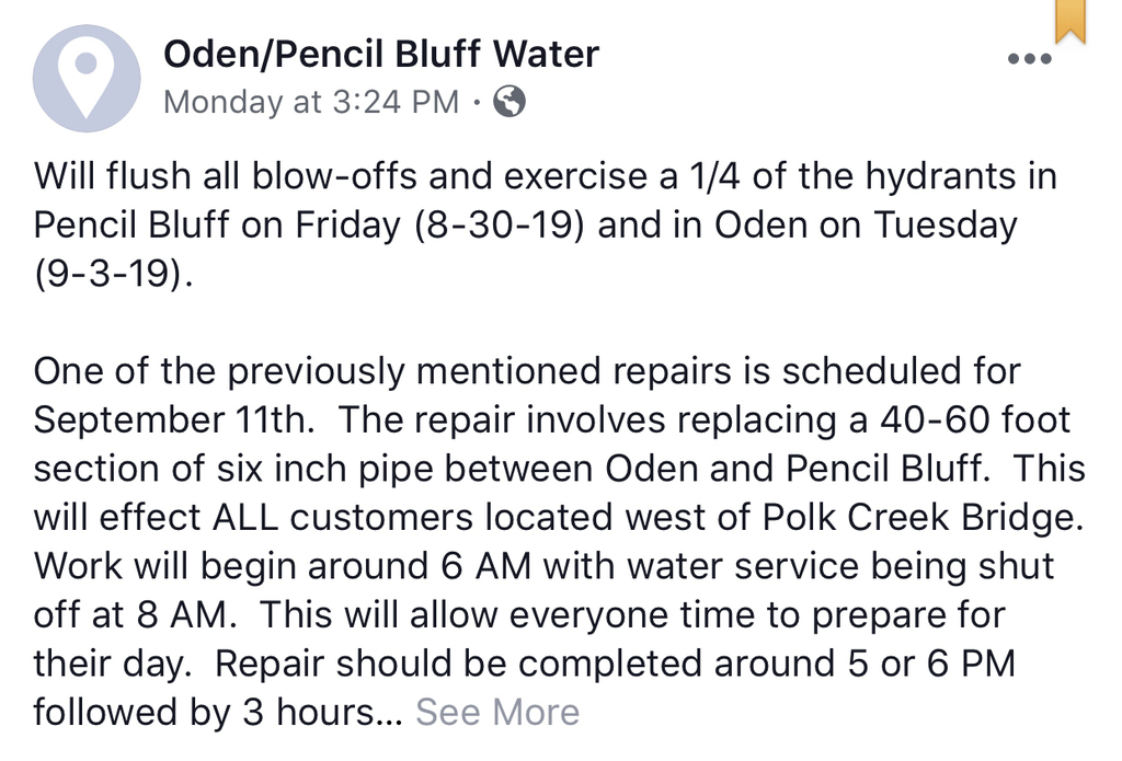 Oden water department message.
