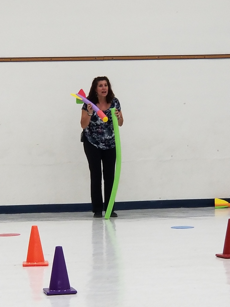 The awesome Mrs. McGee explaining the Team Building Activity!