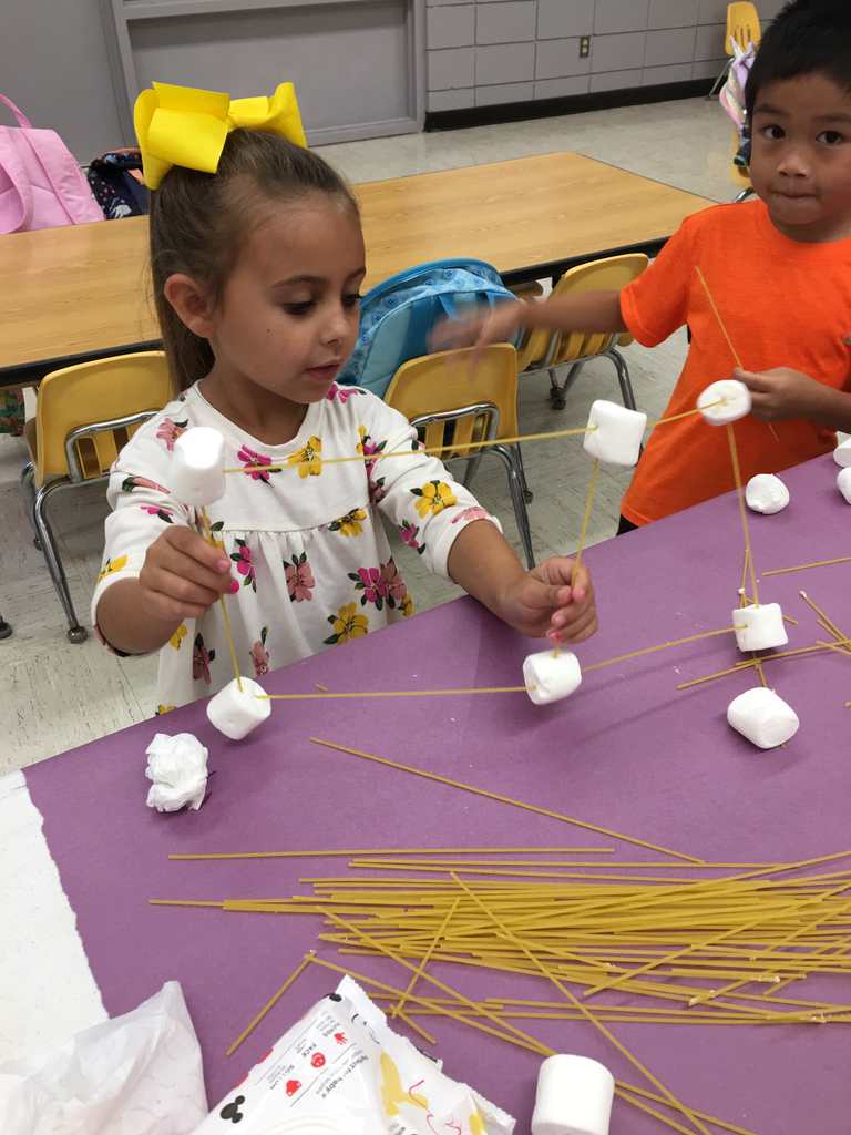 After reading Iggy Peck, Architect, Oden kindergarteners worked hard on their own buildings made of spaghetti and marshmallows